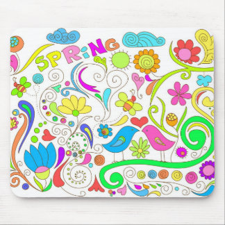colorful spring doodle mouse pad