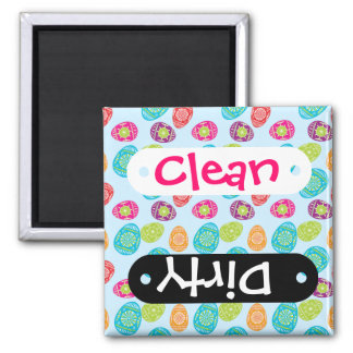 Colorful Spring Easter Eggs Pattern on Baby Blue 2 Inch Square Magnet