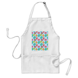 Colorful Spring Easter Eggs Pattern on Baby Blue Adult Apron