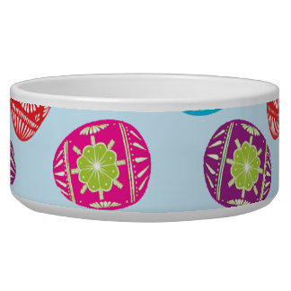 Colorful Spring Easter Eggs Pattern on Baby Blue Bowl