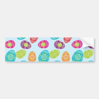 Colorful Spring Easter Eggs Pattern on Baby Blue Bumper Sticker