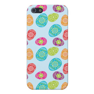 Colorful Spring Easter Eggs Pattern on Baby Blue iPhone SE/5/5s Case