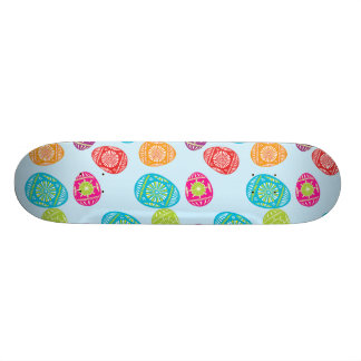 Colorful Spring Easter Eggs Pattern on Baby Blue Skateboard Deck