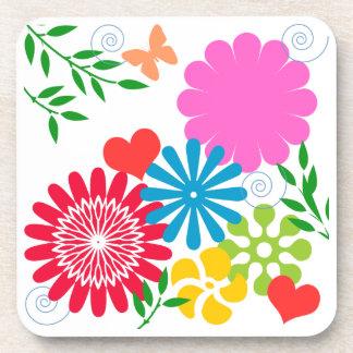 Colorful Spring Floral Drink Coaster