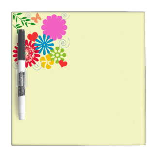 Colorful Spring Floral+Hearts Dry-Erase Whiteboard