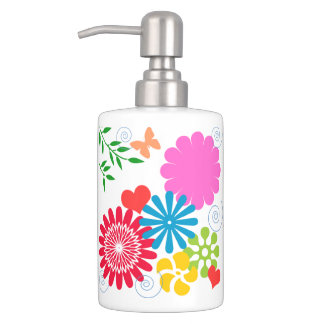 Colorful Spring Floral+Hearts Toothbrush Holder
