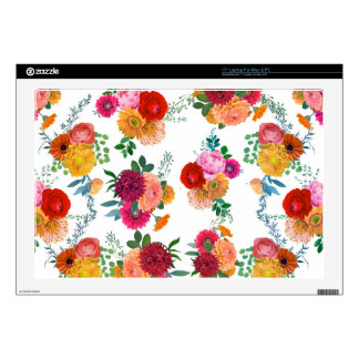 "Colorful Spring Floral Illustration 17"" Laptop Skins"