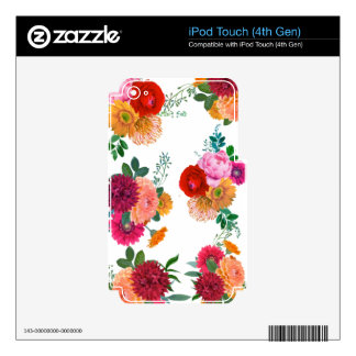 Colorful Spring Floral Illustration iPod Touch 4G Decal