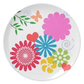 Colorful Spring Floral Melamine Plate