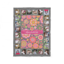 Colorful Spring Floral Pattern 11 Photos Name Fleece Blanket
