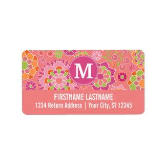 Colorful Spring Floral Pattern Custom Monogram Address Label