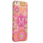 Colorful Spring Floral Pattern Custom Monogram Barely There iPhone 6 Plus Case