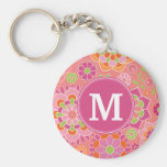 Colorful Spring Floral Pattern Custom Monogram Basic Round Button Keychain