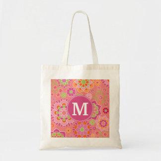 Colorful Spring Floral Pattern Custom Monogram Budget Tote Bag