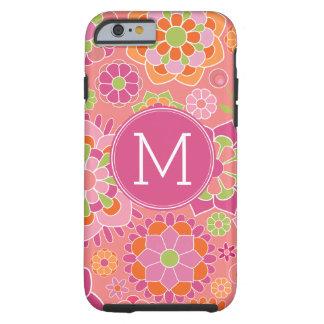 Colorful Spring Floral Pattern Custom Monogram Tough iPhone 6 Case