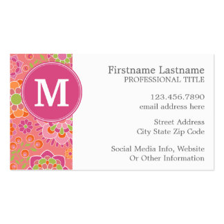 Colorful Spring Floral Pattern Custom Monogram Double-Sided Standard Business Cards (Pack Of 100)