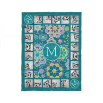 Colorful Spring Floral Pattern Custom Monogram Fleece Blanket