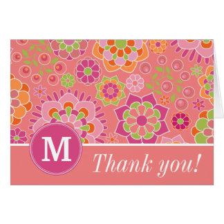 Colorful Spring Floral Pattern Custom Monogram Greeting Card