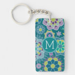 Colorful Spring Floral Pattern Custom Monogram Acrylic Keychains