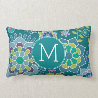 Colorful Spring Floral Pattern Custom Monogram Lumbar Pillow