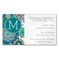 Colorful Spring Floral Pattern Custom Monogram Magnetic Business Card