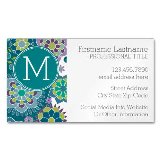 Colorful Spring Floral Pattern Custom Monogram Magnetic Business Cards (Pack Of 25)