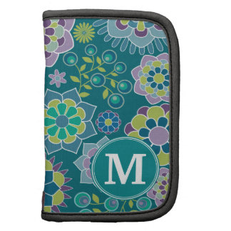 Colorful Spring Floral Pattern Custom Monogram Folio Planners