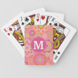 "Colorful Spring Floral Pattern Custom Monogram Playing Cards<br><div class=""desc"">Hot Pink,  Coral and lime green - A fun and graphic flower design in fresh,  cheerful colors. If you need to adjust the monograms,  click on the customize it button and make changes.</div>"