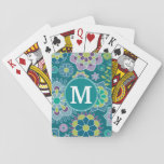 "Colorful Spring Floral Pattern Custom Monogram Playing Cards<br><div class=""desc"">Purple,  Teal Blue and Lime Green - A fun and graphic flower illustration in fresh,  cheerful colors. If you need to adjust the monograms,  click on the customize it button and make changes.</div>"