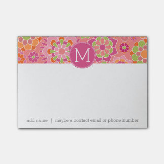 Colorful Spring Floral Pattern Custom Monogram Post-it Notes