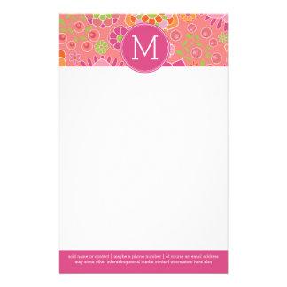 Colorful Spring Floral Pattern Custom Monogram Stationery