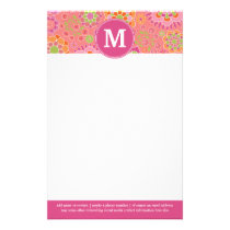 Colorful Spring Floral Pattern Custom Monogram Stationery