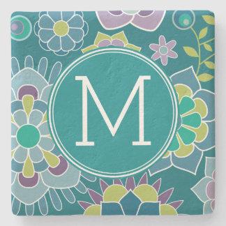 Colorful Spring Floral Pattern Custom Monogram Stone Beverage Coaster