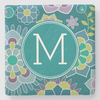 Colorful Spring Floral Pattern Custom Monogram Stone Coaster