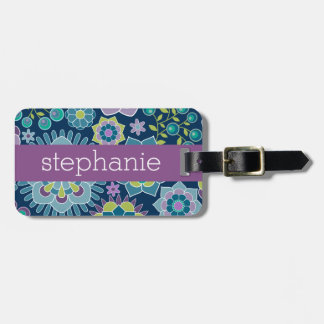 Colorful Spring Floral Pattern Custom Name Bag Tag