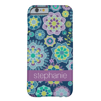 Colorful Spring Floral Pattern Custom Name Barely There iPhone 6 Case