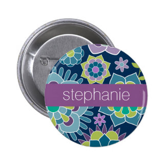 Colorful Spring Floral Pattern Custom Name 2 Inch Round Button