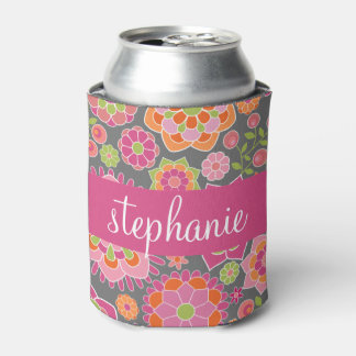 Colorful Spring Floral Pattern Custom Name Can Cooler