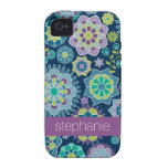 Colorful Spring Floral Pattern Custom Name iPhone 4/4S Cases