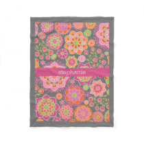 Colorful Spring Floral Pattern Custom Name Fleece Blanket