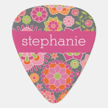 Colorful Spring Floral Pattern Custom Name Guitar Pick by MarshBaby at Zazzle