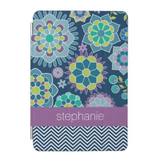 Colorful Spring Floral Pattern Custom Name iPad Mini Cover