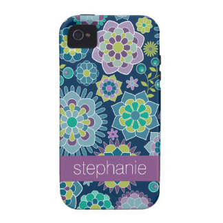 Colorful Spring Floral Pattern Custom Name iPhone 4 Case