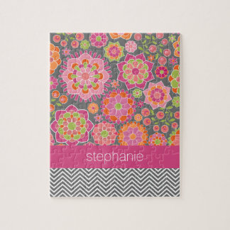 Colorful Spring Floral Pattern Custom Name Jigsaw Puzzle