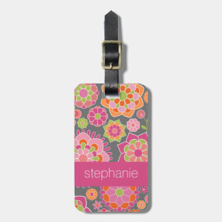 Colorful Spring Floral Pattern Custom Name Luggage Tag