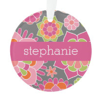 Colorful Spring Floral Pattern Custom Name Ornament