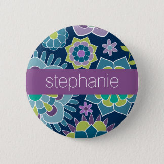 Colorful Spring Floral Pattern Custom Name Pinback Button
