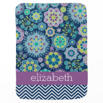 Colorful Spring Floral Pattern Custom Name Receiving Blanket