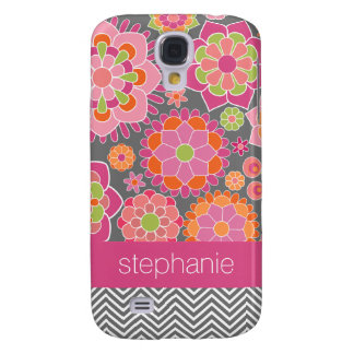 Colorful Spring Floral Pattern Custom Name Samsung Galaxy S4 Cover