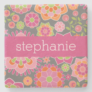 Colorful Spring Floral Pattern Custom Name Stone Coaster